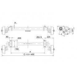 V-900 kg BWN-Schlegl Komplett Anhänger Achse Fahrgestell Satz gebremst | AM: 900-1500 | AS: 100x4